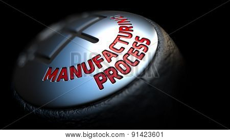 Manufacturing Process on Gear Stick with Red Text.