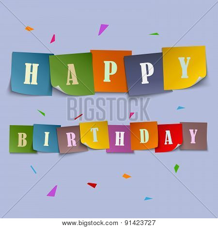 Happy Birthday Card With Colored Stickers Template