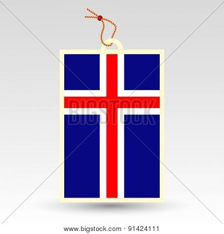 Vector Simple Icelandic Price Tag - Symbol Of Made In Iceland - Flag