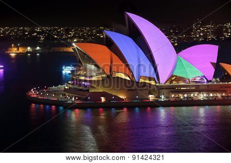 Sydney Opera House Sails Lit In Bright Colours