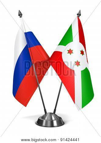 Russia and Burundi - Miniature Flags.