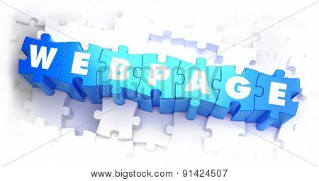 Webpage - White Word on Blue Puzzles.