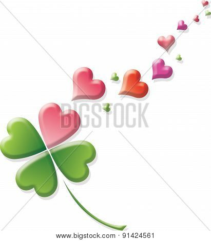 four-leaf clover and hearts