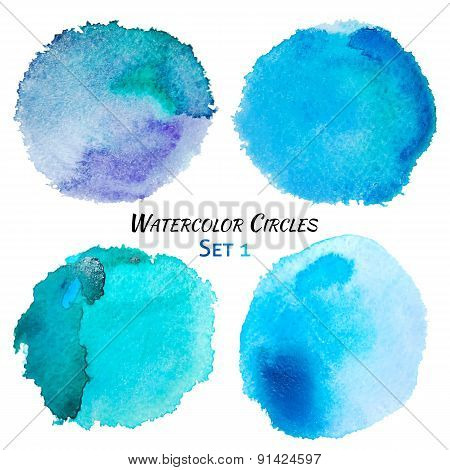 Watercolor Blue And Purple Colorful Circles Set