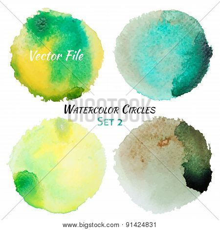 Watercolor Green And Yellow Vector Colorful Circles Set