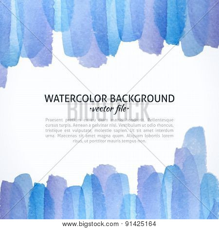Watercolor Vector Blue And Purple Abstract Background