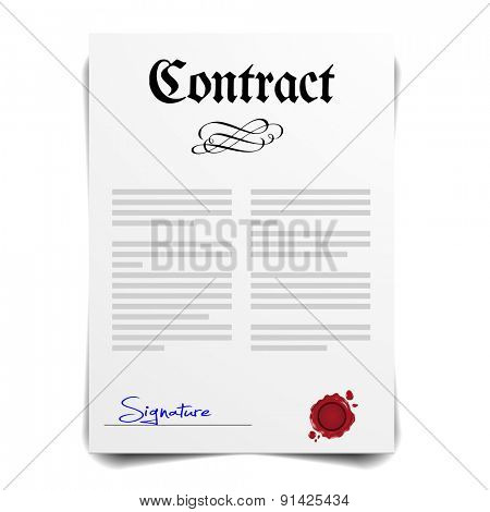 detailed illustration of a contract letter with signature, eps10 vector