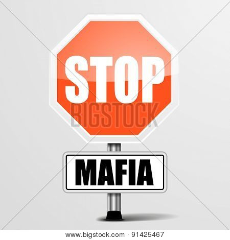 detailed illustration of a red stop Mafia sign, eps10 vector