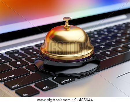 Reception Bell On The Laptop Keyboard With Soft Focus