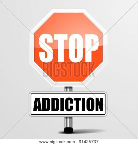 detailed illustration of a red stop Addiction sign, eps10 vector