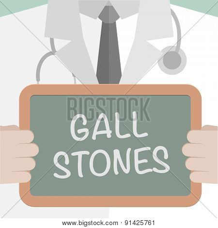 minimalistic illustration of a doctor holding a blackboard with Gall Stones text, eps10 vector