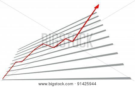 Graph with red arrow up
