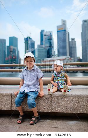 Two Kids In Big Modern City