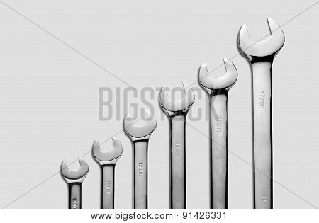 The wrench steel tools for repair and build in composition until small size to biggest size