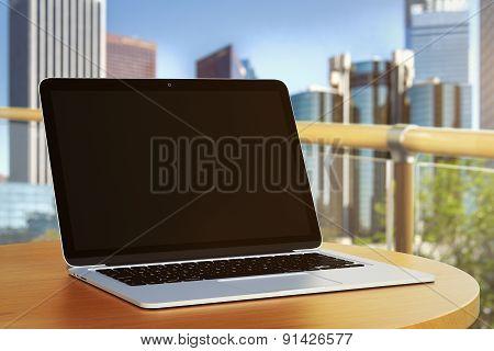 Blank Laptop Outdoors