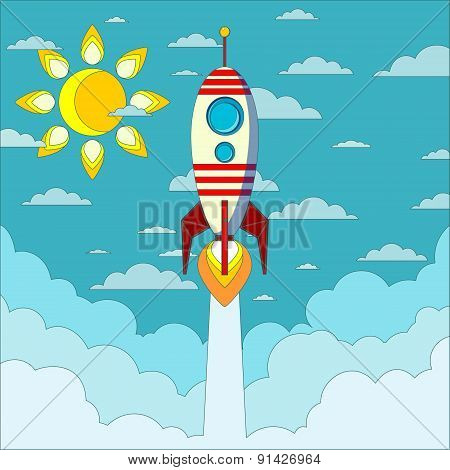 Rocket on the blue sky, vector illustration