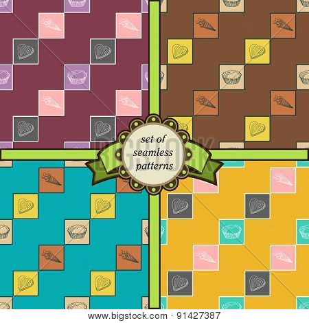 Set Of Seamless Geometric Patterns With Sweets