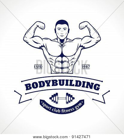 Sport Fitness Gym Label Template with Bodybuilder