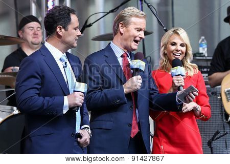 NEW YORK - MAY 22: (L-R) Broadcasters Brian Kilmeade, Steve Doocy & Elisabeth Hasselbeck onstage at Fox and Friends' All-American Summer Concert Series at Fox Studios on May 22, 2015 in New York City.