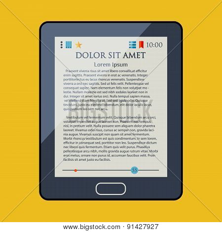E-book reader. Electronic book. Newspaper. Magazine. Vector illustartion.