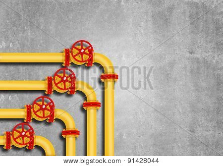 Gas pipes on grey wall background