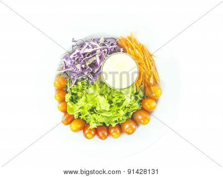 Colorful Vegetable Salad With Dressing
