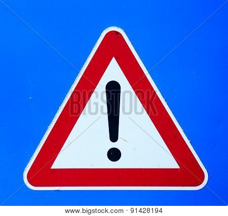Exclamation Mark Sign On Blue