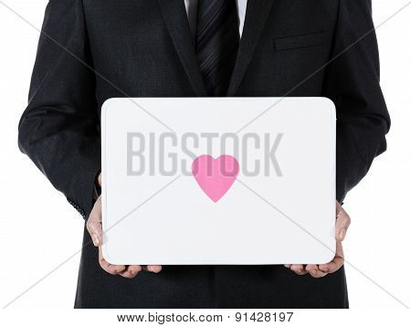 businessman with whiteboard and heart adhesive note