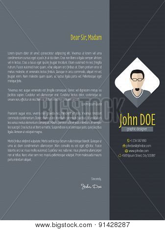 Modern Cover Letter With Dark Background
