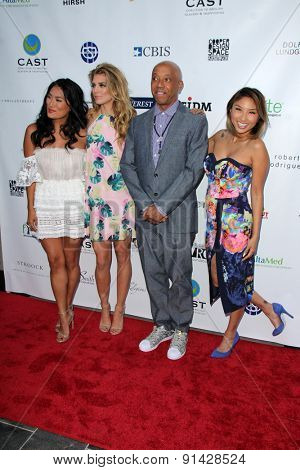 LOS ANGELES - MAY 21:  Chloe Flower, AnnaLynne McCord, Russell Simmons, Jeannie Mai at the 17th From Slavery to Freedom Gala at the Skirball Center on May 21, 2015 in Los Angeles, CA