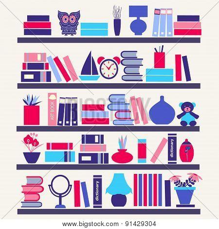 Background Of  Books On The Bookshelves-