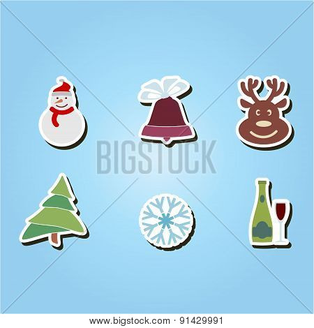 set of color icons with Christmas symbols