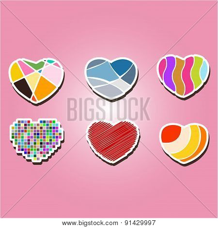 set of color icons with hearts