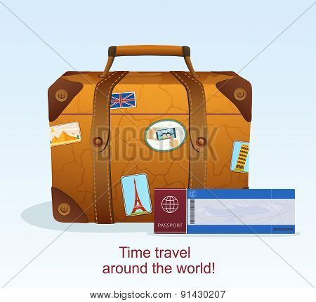 Vintage Leather Suitcase With Travel Sticker, Ticket With A Passport To Travel