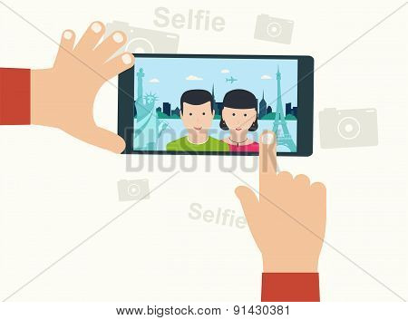 Selfie Photo On Smart Phone ?oncept On White Background. Young Couple Taking Selfie Photo Together A