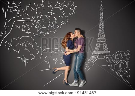 Romantic Kiss In Paris.
