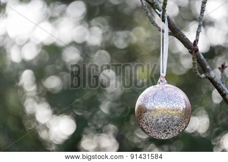 Christmas Bauble Hanging Outside