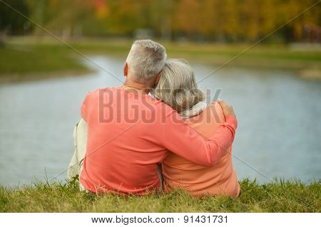 Back view of elderly couple together