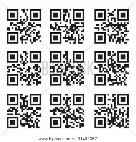 Qr Code Set, Square Product Barcode  Label