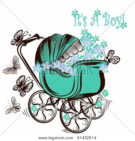 Birthday Greeting Card With Childish Pram And Butterflies It Is A Boy