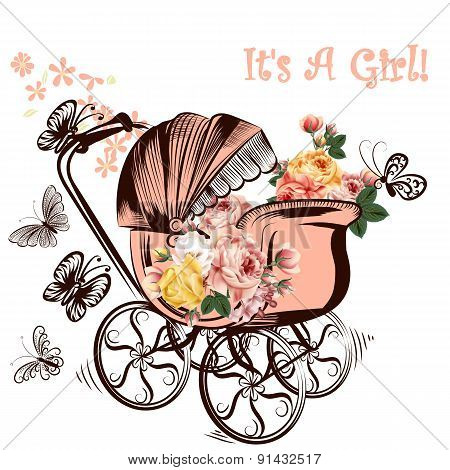 Birthday Greeting Card With Childish Pram And Butterflies It Is A Girl