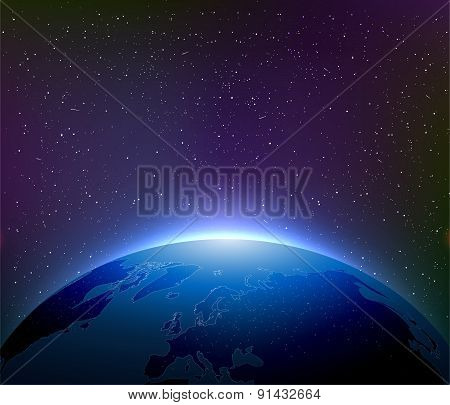 Earth At Night Among Starry Sky