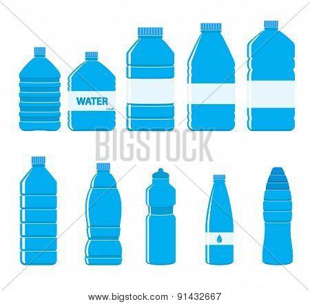 Plastic Bottles Icon Set On White Background