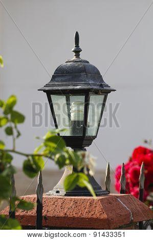 Lamp in garden.