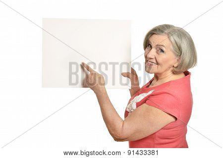 Full length portrait of senior woman holds banner
