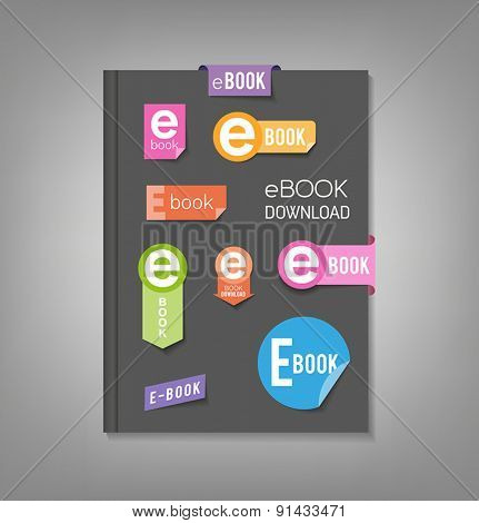 Brochure template, book cover with e-book download stickers.