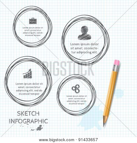 Vector doodle sketch elements for infographic.