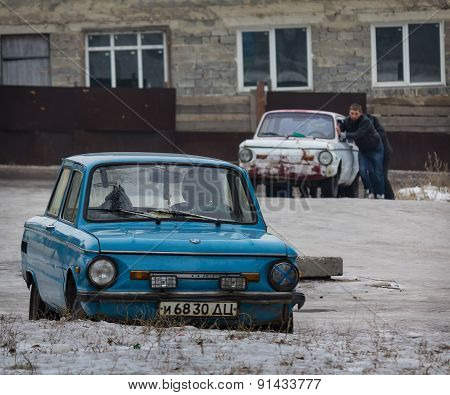 Makeevka, Ukraine - January, 29, 2015: Older Models Of The Once Popular Brand Of Mass Production And