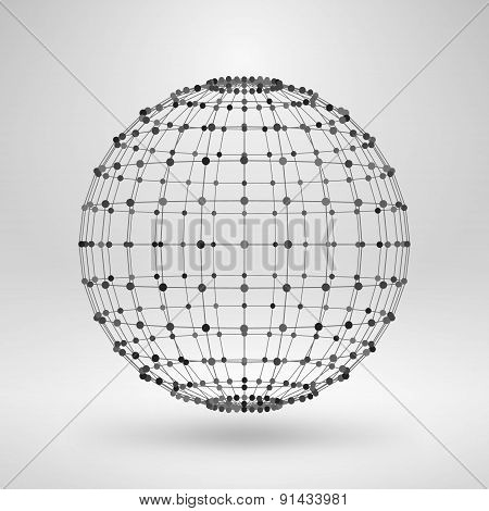 Wireframe Polygonal Element. 3D Sphere With Lines And Dots