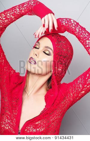 Alluring Sensual Woman In Red Knitted Jacket